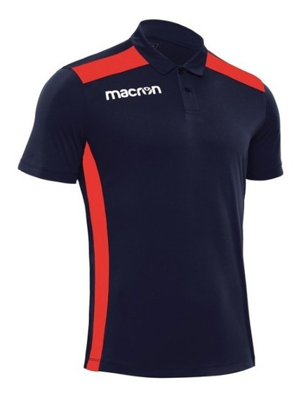 Remera Con Cuello- Modelo Folk Azul Y Roja- Marca Macron