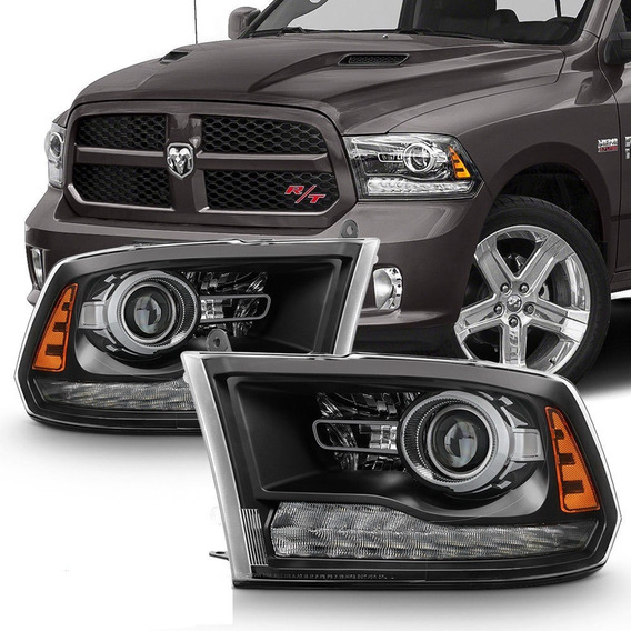 Farol Black Led Dodge Ram 1500 E 2500 6.7 2012 Mascara Negra