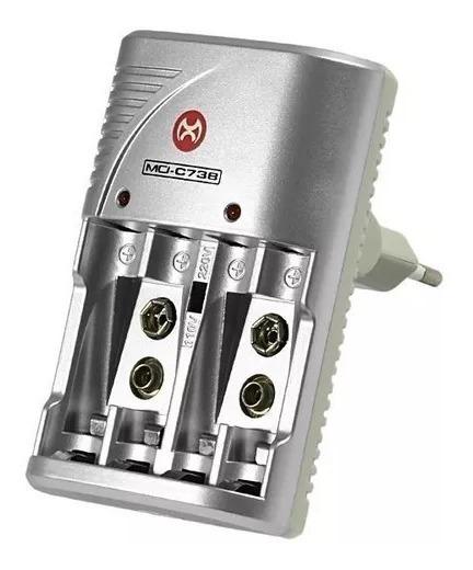 Carregador De Pilhas Bateria 9v Recarregavel Power Mox