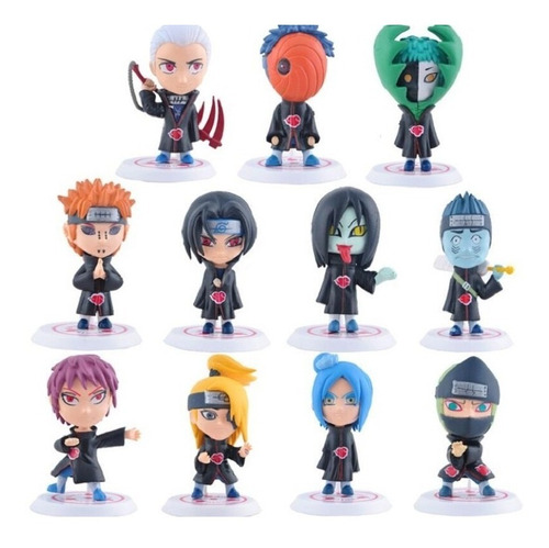 Kit 11 Action Figure Bonecos Naruto Hidan Madara Akatsuki