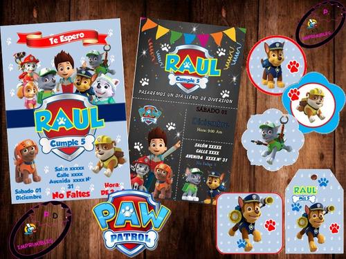 Kit Imprimible Paw Patrol Nene Niño Patrulla Canina Fiesta