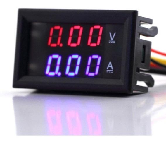 Medidor Voltagem E Amp Azul Som Carro Bateria Painel Hi Volt