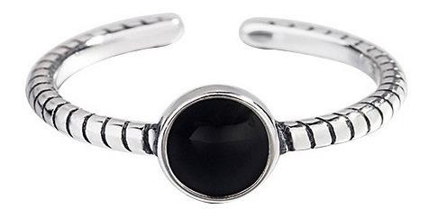 Nuevo Anillo Plata Fina 925 Ajustable Mujer Cristal Negro