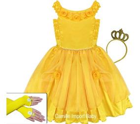 Vestido Fantasia Infantil Bela E A Fera 2 Ao 16 Coroa Luvas