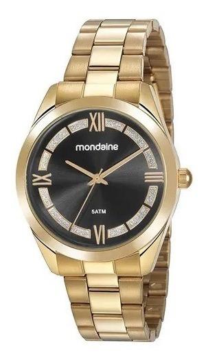 Relógio Mondaine Caixa E Pulseira Em Metal Dourado