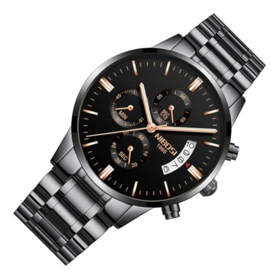 Relógio Masculino Nibosi 2309 Resiste Água Aço Preto Casual