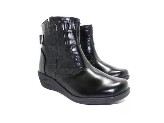 Botineta Croco Cuero Negro - Calzados Union- 358