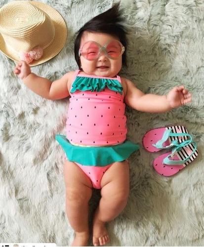 Biquini Maiô Infantil Carter's Melância Rosa Proteção Solar