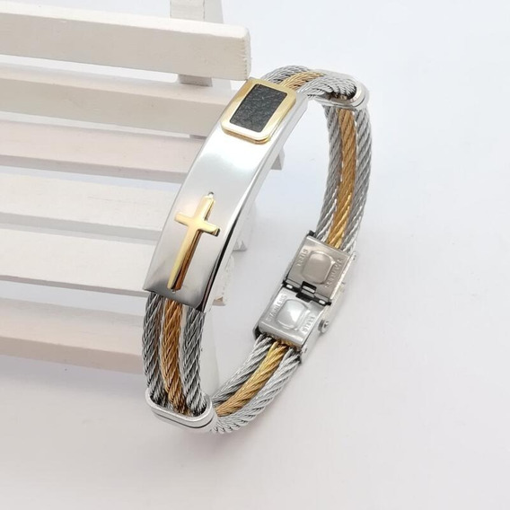 Bracelete Pulseira Masculina Banhada Ouro 18k Cruz