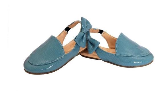 Mule Sapatilha Infantil Bebe Azul Claro Azul Nuvem Bico Afinado Com Tope Enfeite Azul Sandalinha Para Bebe Criança