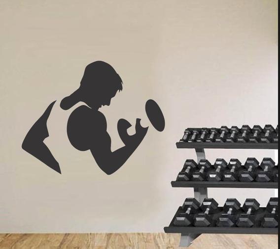 Adesivo De Parede Academia Musculação Fitness Peso 80x100cm