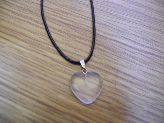 Colar Coração Pedra Natural Quartzo Transparente Cordão