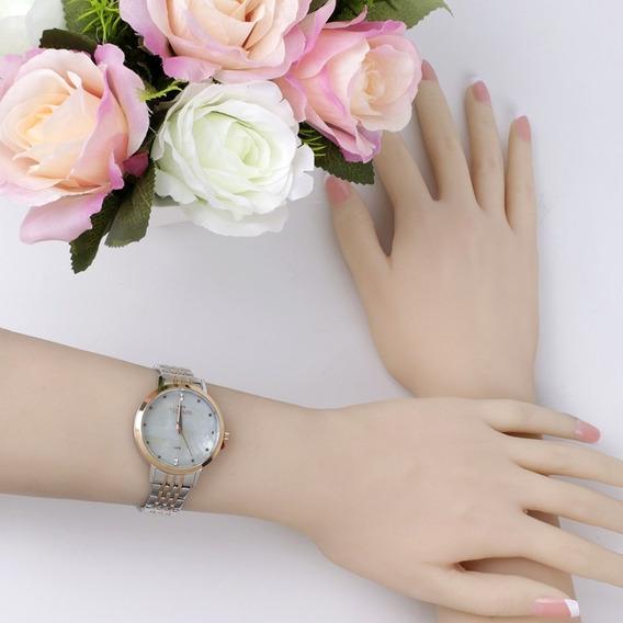 Relógio Feminino Technos Rosê E Prata Madrepérola 2036mji/5b