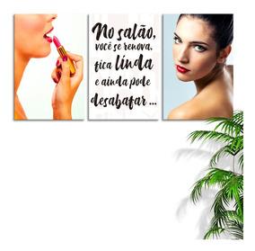 Quadro 75x150cm Estética Facial Batom Frases Feminina Decor