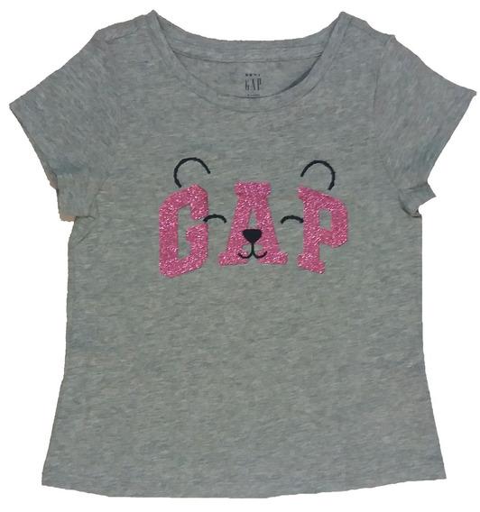 Rermera Baby Gap Original Usa 4 Años Oso Glitter Rosa Niñas Infantil Gris