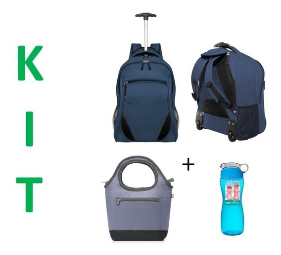 Kit Escolar Mochila Con Carro + Lunchera + Botella Oferta