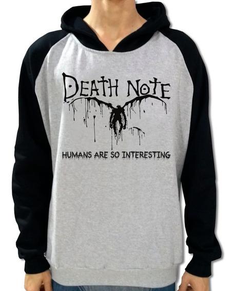 Blusa Moletom Canguru Raglan Death Note + Brinde
