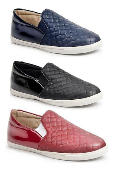 Kit 3 Slip On Casual Feminino Luma Ventura Metalassê