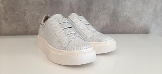 Zapatillas Elastico Blancas De Cuero
