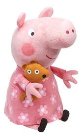 Peppa Pig Pelúcia 50cm - Peppa Vestido Florzinhas - Original