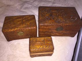 3 Caixas Em Sândalo Esculpidas