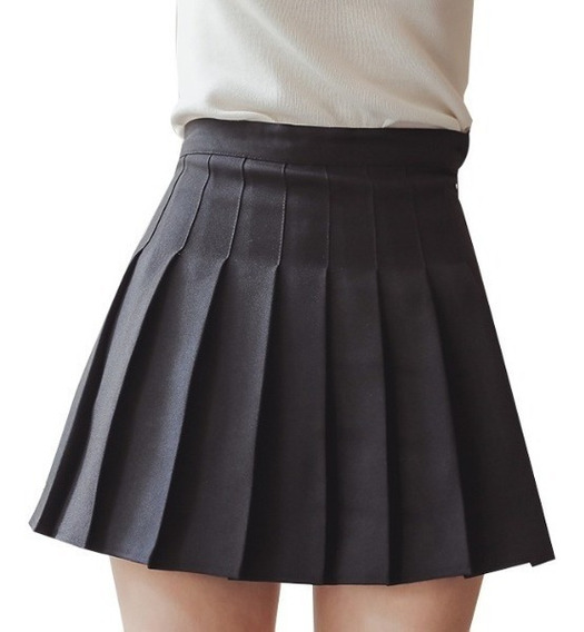 Falda Tableada Plisada A La Cintura Negra Y Colores