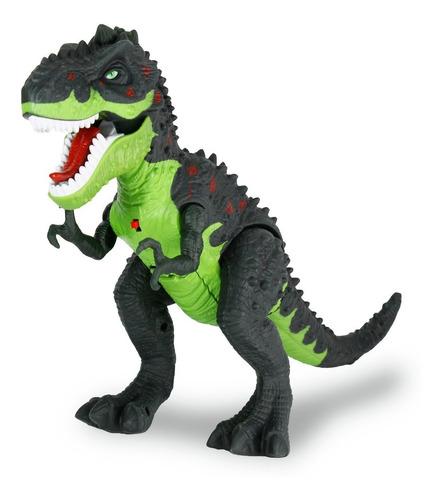 Imagen 1 de 10 de Juguete Dinosaurio T-rex Con Luces Y Sonido Lanza Humo