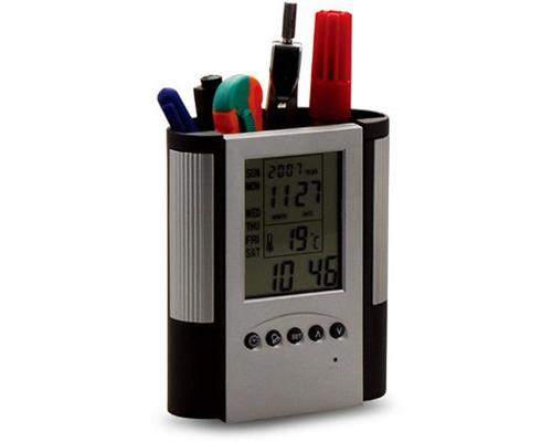 Imagen 1 de 1 de Porta Lapices De Escritorio Con Reloj
