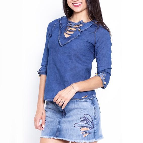Blusa Jeans Feminina Sol Jeans Manga 3x4 Moda 628 Dins