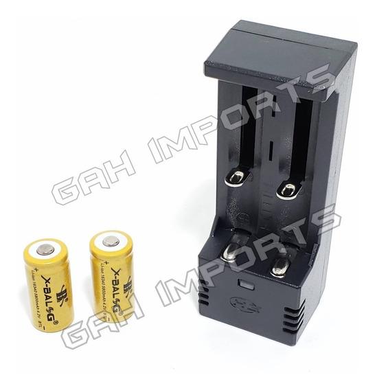 Carregador Duplo + 2 Baterias Gold 16340 Cr123a Recarregável
