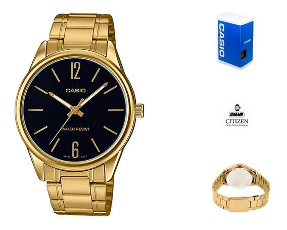 Reloj Casio Quartz Mtpv005 G1b Hombre Dorado Negro Full