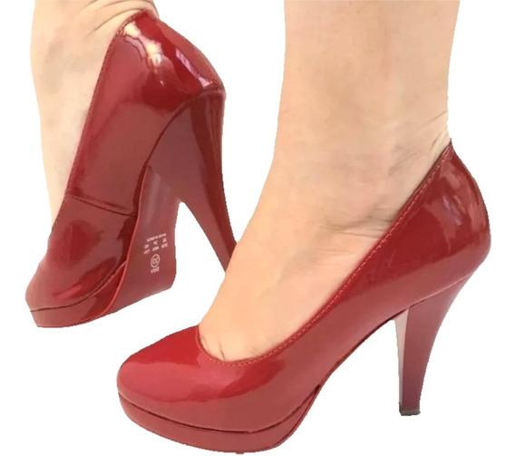 Scarpin Meia Pata Salto Médio Baixo Vermelho Bico Redondo
