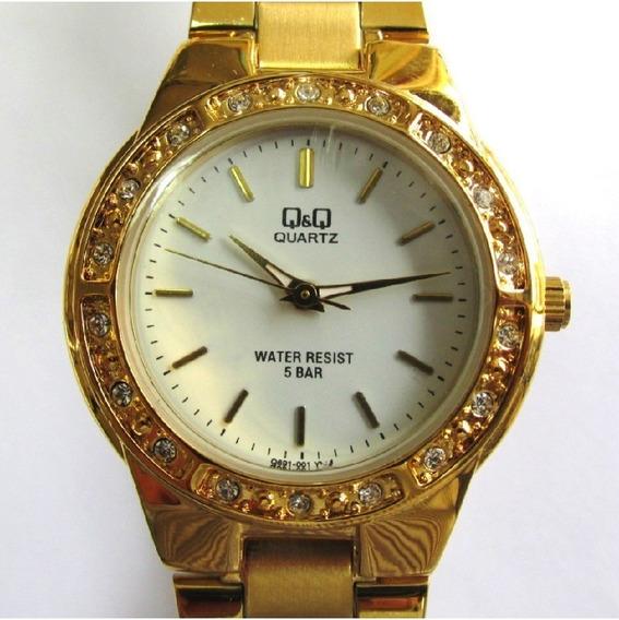 Relógio Q & Q Miyota Feminino Dourado Aro Strás Q691j001y