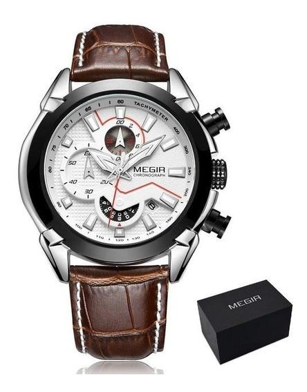 Relógio Masculino Megir Original Luxo Com Cronógrafo Branco