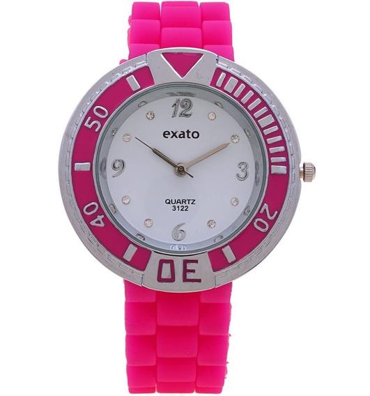 Relogio Feminino Barato Prata Exato Rosa Pink Original Peque