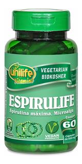 Espirulina Pura 120 Cápsulas Unilife 500mg + Brinde