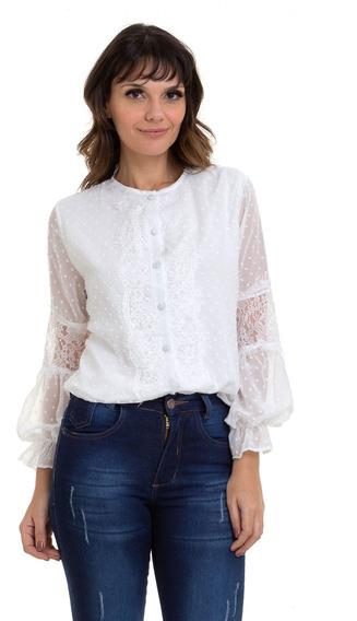 Camisa Kinara Chiffon Detalhes Em Renda Branca