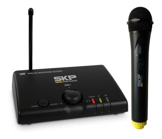 Microfone Sem Fio Skp Uhf - Mini-i - Bivolt Com Fonte Inclus