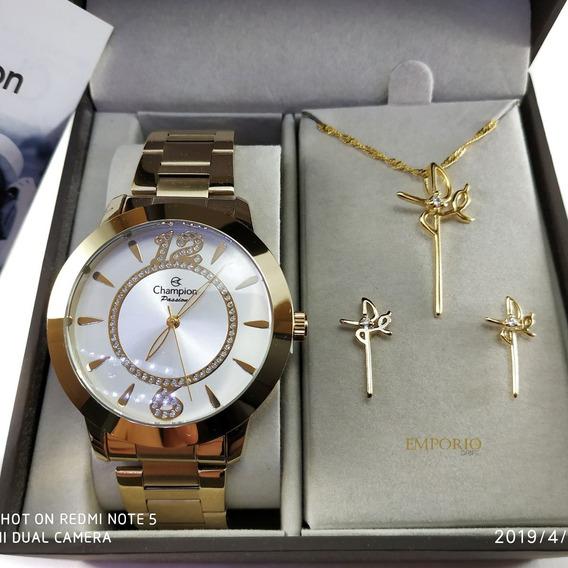 Relógio Champion Ch24259 + Brinde Colar E Brincos Promocao