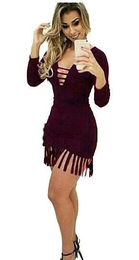 Vestido De Franja Curto Vestido Feminino Festa Balada Moda