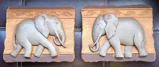 Placas Decorativas Elefantes Home Interiors (par)