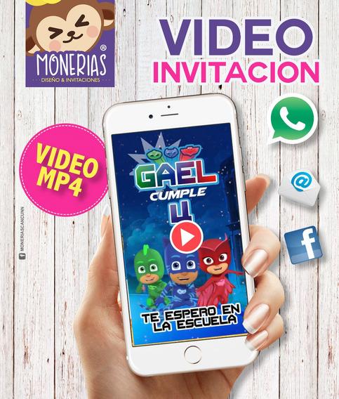 Video Invitacion Pj Mask, Invitacion Heroes En Pijama