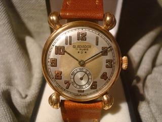 Bellisimo Reloj Gladiador Art Deco 1945 Oro Plaque18k Joya!!