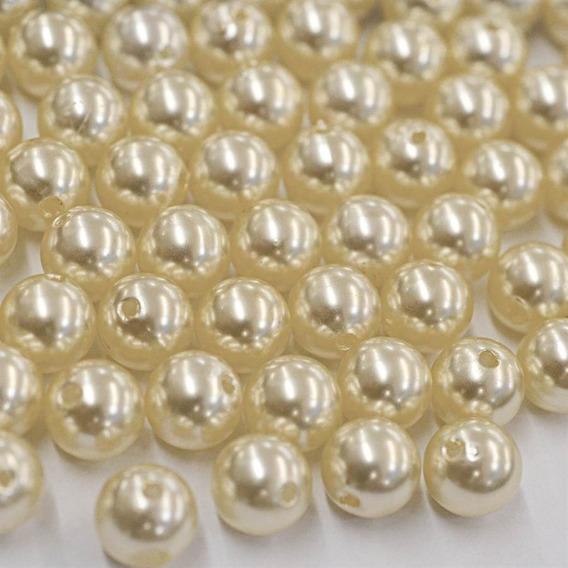 Kit 1000 Pérolas Abs 10mm Cor Creme Ou Branca Furo Passante