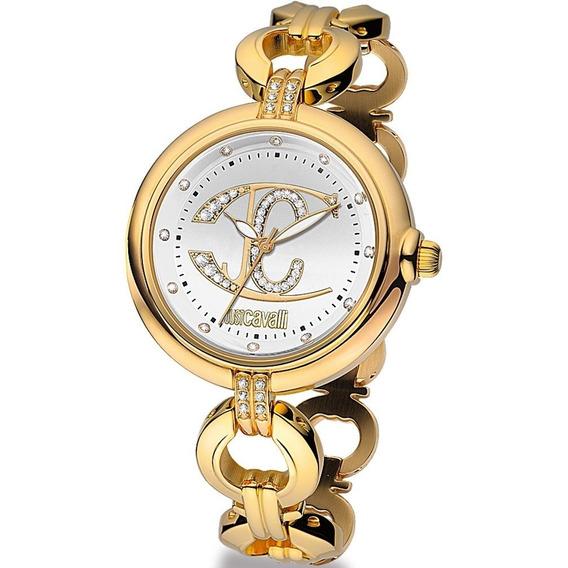 Relógio Feminino Dourado Original Just Cavalli Ouro 18k Cristais Delicado Elegante Fundo Branco