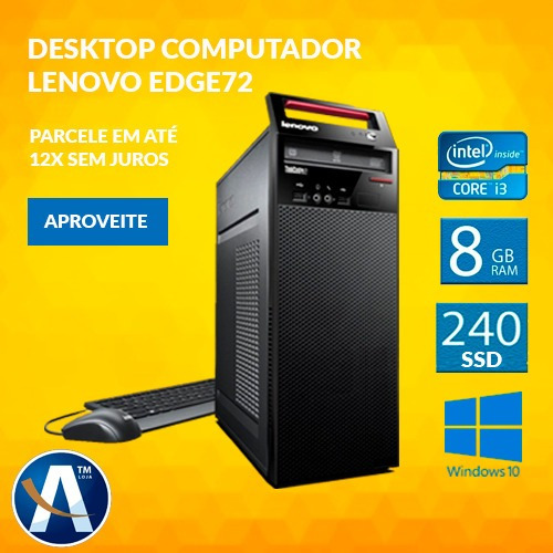 Desktop Computador Lenovo Edge72 I3 8gb Ram Hd Ssd 240gb