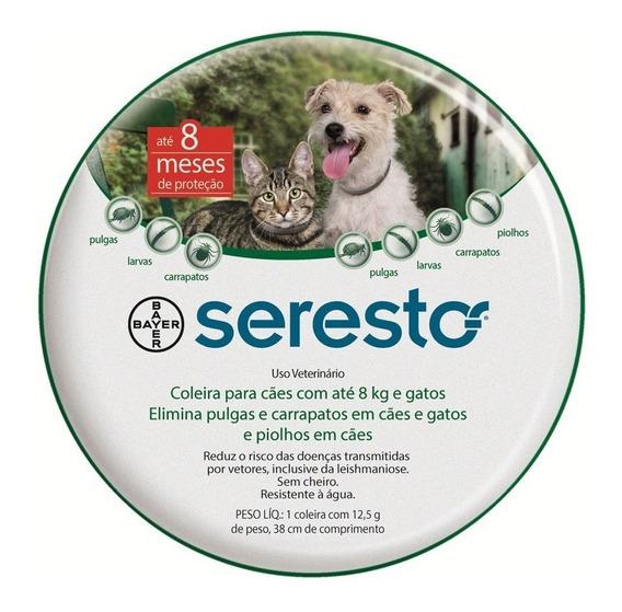 Coleira Seresto Bayer P/ Cães Até 8kg E Gatos Pulgas Carrap