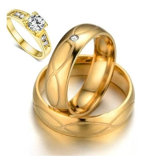 Par De Alianças Banhada5mm Casamento Infinito+anel Solitario