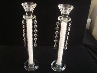 Candelabros De Shabat En Cristal Con Circonias Y Colgantes