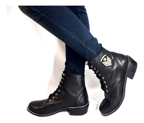 Borcegos Mujer Sam123 Oferta Talles Grandes Cuero Mily Negro
